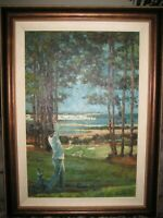 """Vintage LARGE Painting GOLF COURSE GOLFER 47"""" x 35"""" Signed by Artist Douglas"""