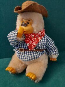 "Vintage Russ Berrie. ❤  GONGA Gorilla Sucking Thumb Cowboy ~ 8"" Soft Plush Toy."