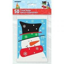 50 Snowman Buddies Treat Favour Loot Bags/Xmas Gift Bags/Xmas Party Goody Bags!!