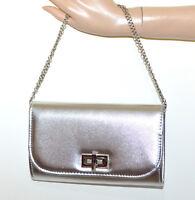 BOLSO CLUTCH bag mujer plata glitter elegante cadena de plata torba sac saco G12