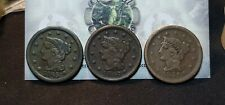 Lot of 3 Large Cents 1c 1845, 1847 & 1851