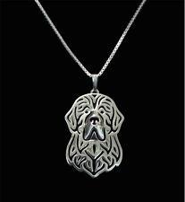 Halskette mit Hunde Kopf Anhänger. Neufundländer. Silber Hund Schmuck