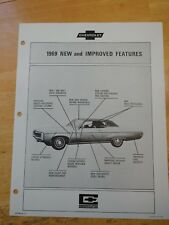 NOS 1969 Chevy Salesman Fact Sheet New Improved Features 69 Chevrolet