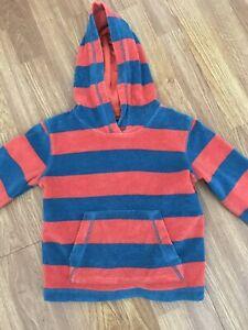 Mini Boden Boy's Toweling Hoodie Top 3-4 years Orange Blue