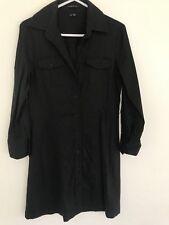 💖 THEORY designer LINEN VISCOSE Stretch Black Shirt Shift Dress Sz 6 Xs