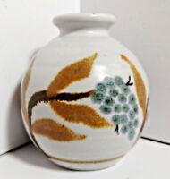 """Signed PASKAL Art Pottery Vase / Oil Lamp 3"""" Unique Hand Painted Vintage 70's"""