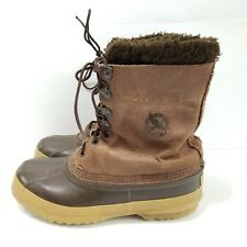 Vtg Eddie Bauer Sorel Womens Wool Lined Brown Leather Rubber Duck Boots Size 9