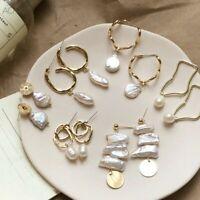 Pearl Stud Earrings Clip On Dangle Earring Statement Eardrop Studs Women Jewelry
