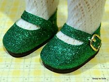"""GREEN """"Sparkle"""" MARY JANE DOLL SHOES fit American Girl 14.5"""" WELLIE WISHERS DOLL"""