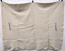 Vintage White Wool U.S. Navy Stamped Blanket 5.5' x 4'