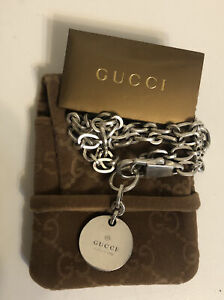 Gucci Sterling Silver Trademark Round Pendant Lobster Clasp Necklace