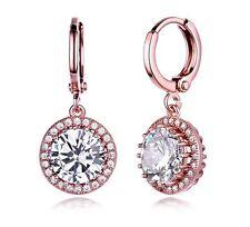 Rose Gold finish created diamond Vintage chic Round Hoop huggies earrings