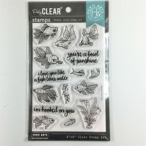 Hero Arts Pet Goldfish Clear Stamp Set Fish Bubbles Plant Snail Phrases Sayings