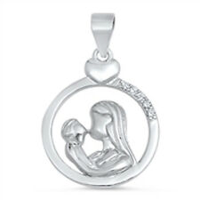 Mother and Child Heart Cubic Zirconia Pendant .925 Sterling Silver Pendant