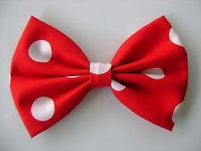 FABRIC HAIR BOW W/Alligator Clip* Big Polka Dots on Red *Handmade* FREE SHIPPING