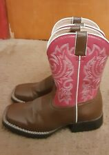 """Durango Girls 8"""" Brown And Hot Pink Cowboy Boot Size 1M"""