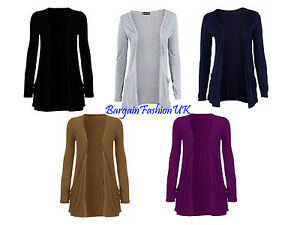 New Womens Ladies Drop Pocket Boyfriend Cardigan Assorted Colours and Size 10-18