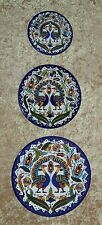 Vintage PEACOCK PLATES ~ Set of 3 ~ HP ~ J. TAMIMI ~ Ceramic Porcelain ~ RARE!