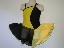 ICE SKATING DRESS Competition Figure Skate Yellow & Black w Crystals Child S