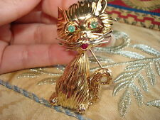 18KT SOLID  GOLD KITTY- CAT BROOCH W/ EMERALDS & RUBY-GORGEOUS.