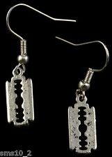 """Hand Made Silver Colour """"Razor Blade"""" Earrings HCE120"""