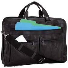 Black Genuine Leather Business Briefcase, Messenger School  Laptop Shoulder Bag
