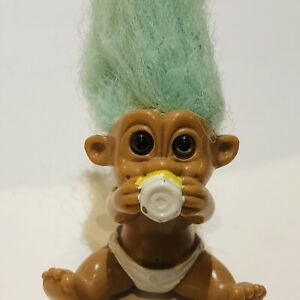Vintage 90's TNT Baby Troll With Nappy & Bottle Figurine Rare