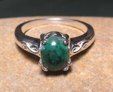 Sterling silver cabochon teal CHRYSOCOLLA ring UK Q½-¾/US 8.5-8.75. Gift bag.