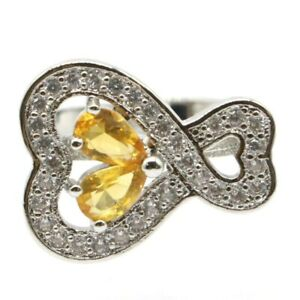 Fancy Golden Citrine White CZ Woman's Gift Silver Ring 7.75