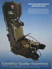 11/1986 PUB MARTIN BAKER EJECTION SEAT MK.14 SIEGE EJECTABLE ORIGINAL AD