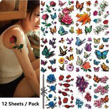 12pcs Temporary Tattoo Feminine Stickers Waterproof Body Art Rose Butterfly Lips