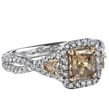 Champagne 1.32 Ct Diamond Engagement Ring Radiant Cut Infinity 14k White Gold