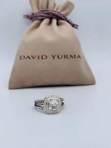 David Yurman Petite Albion Ring with White Topaz and Diamonds Size 6