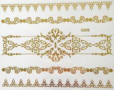 Einmal Temporary Flash Tattoo Henna Classic Gold 5teile Armband Kette Body G6