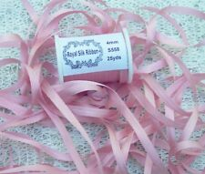 """100%PURE SILK EMBROIDERY RIBBON 1/8""""[4MM] WIDE 25 YDS DUSTY/ROSE  COLOR"""