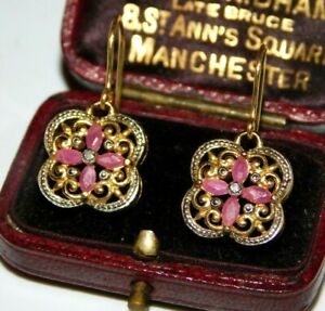 BEAUTIFUL RUBY & DIAMOND 9CT GOLD HOOK SCROLLING VINTAGE FRENCH DESIGN EARRINGS