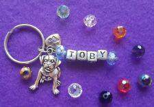 Personalised Love My Dog Staffy Bull Type Keyring Name of Dog 10 Gem Colours