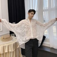 Men Shirt Top Hollow Out Floral Lace Loose Casual Retro Gothic Steampunk Fashion