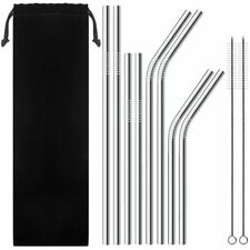 8x Metal Drinking Straw Cleaner Party Reusable Bar + Cleaning Brush Storage Bag