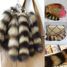 Fashion Real American Raccoon Fur Tail Keychain Tassel bag charm Key Ring Brown