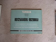YAMAHA RD 125, RD 200, MANUALE, MANUALE conducente, istruzioni di manutenzione, libro, 1974