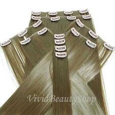 10pcs Light Brown Full Head Heat Resistant Synthetic Clip In Hair Extensions 22""
