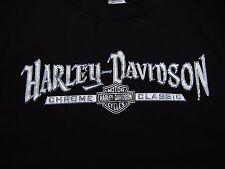 Harley Davidson T Shirt Mens Black Large Chrome Classic Cement City Michigan EUC