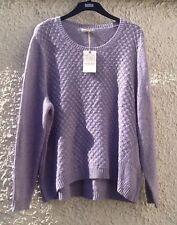 M&S Indigo Purple Long Sleeve Cotton-mix Knit Jumper Top Size 22 BNWT