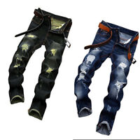 US Trendy Mens Ripped Frayed Denim Pants Destroyed Jeans Regular Fit Trousers