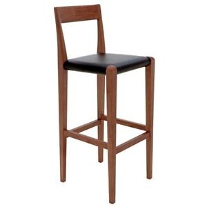 """16"""" W Set of 2 Counter Stool Black Leather Seat Traditional Solid Hardwood Frame"""