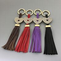 Leather Tassel Heart Crystal Handmade Handbag Purse Bag Keychain Key Ring