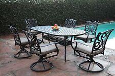 Perris Collection Outdoor Aluminum Patio 7 Piece Dining Set All Swivle Rocker