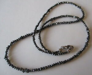 Collier, Kette, schwarze Diamanten, Button facettiert und Naturform, ca. 20 ct
