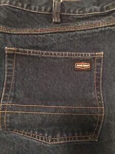Mens JESSE JAMES size 44 x 32 Dark Blue Jeans ** Industrial Denim Work Fit
